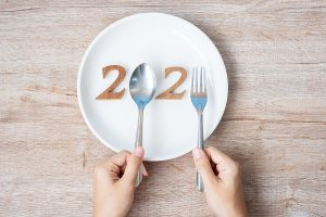 2021 Happy New Year and New You with white plate on wood background. Goals, Healthy, Healthcare, Resolution, Time to New Start, sport, fitness and dieting concept