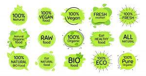 Vegan eco food, bio organic, 100 percent fresh. Healthy natural food icon. Raw product. Set of organic emblem, badges, tags. Fresh vegetarian eco product. Healthy vegan stamp. Bio vector