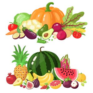 Vegetables and fruits. Cartoon vegetarian food, watermelon, pumpkin and apple vitamin fresh veggies and fruits vector illustration icons set. Organic healthy products for market, farming